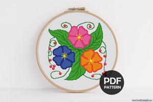 Three Flowers Cross Stitch PDF