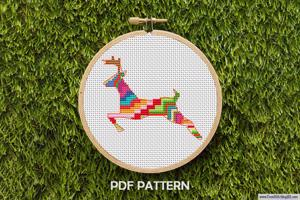Deer Running Cross Stitch Pattern