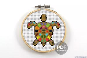 Turtle Colorful Cross Stitch PDF