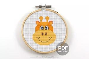 Cartoon Giraffe Face Cross Stitch Pattern