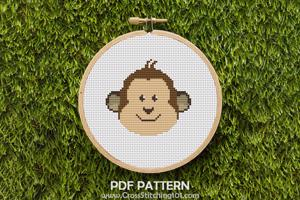 Cartoon Monkey Face Cross Stitch Pattern