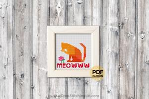 Meowww Cat Cross Stitch Chart