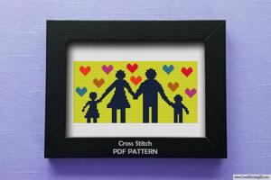 Happy Family Cross Stitch Pattern
