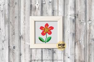 Red Flower Cross Stitch PDF