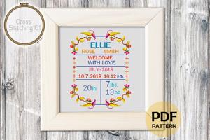 Birth Announcement Template-15 Cross Stitch Pattern