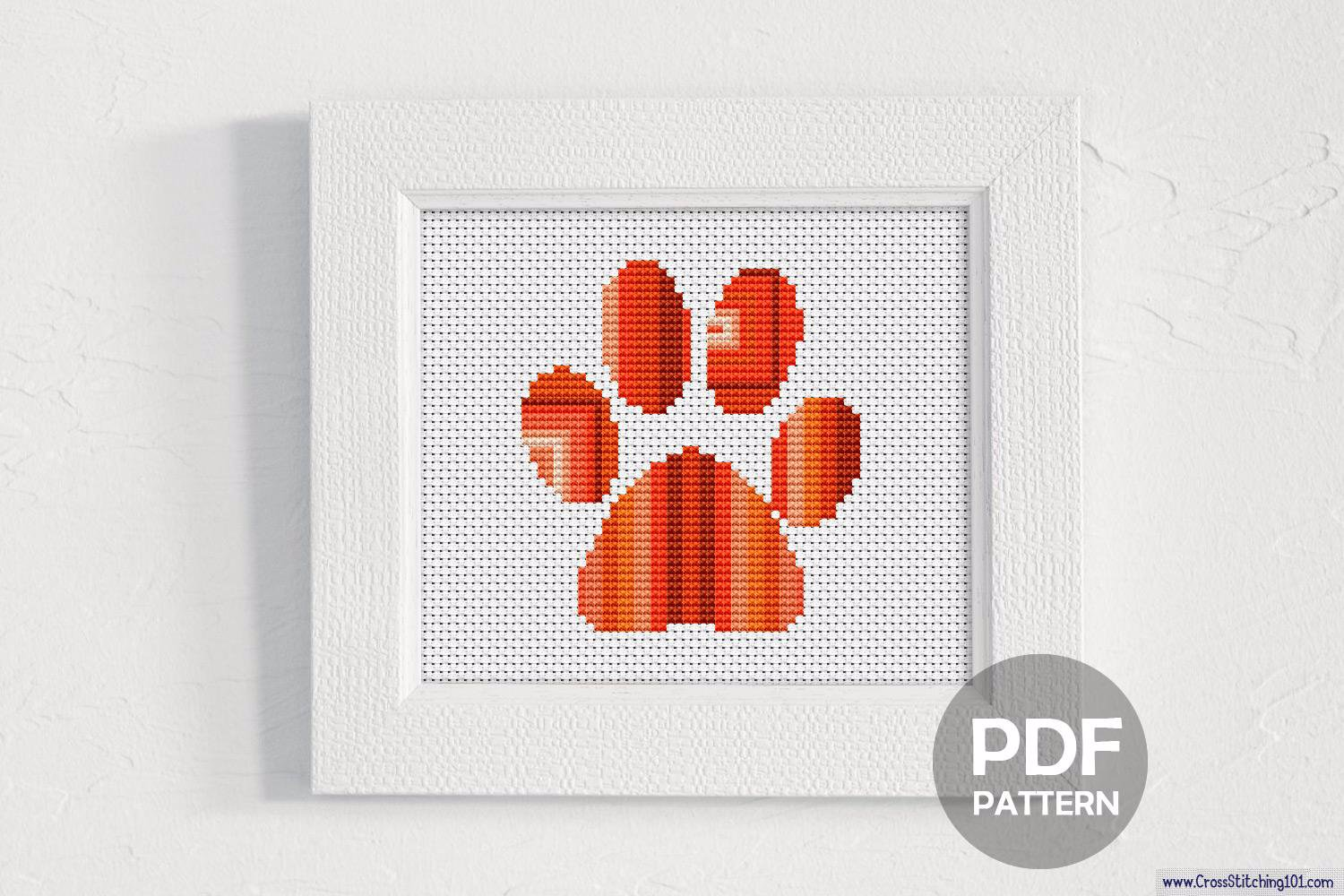 Paw Foot Pattern Cross Stitch Pattern