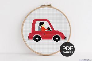 Gentleman Driving Car Cross Stitch PDF