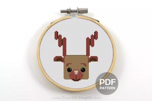 Rudolf Head Cross Stitch PDF