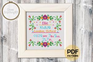 Birth Announcement Template-2 Cross Stitch Chart