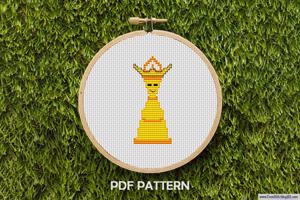 Cartoon Chess Piece King Cross Stitch Pattern