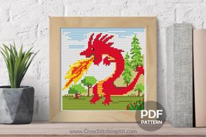 Fire Breathing Red Dragon  Cross Stitch Pattern
