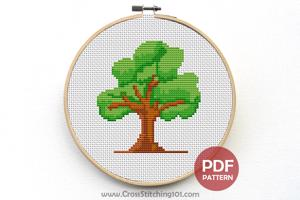 Nature Green Tree Cross Stitch Design