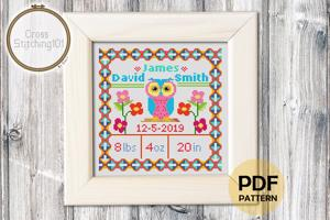 Birth Announcement Template-11 Cross Stitch Pattern