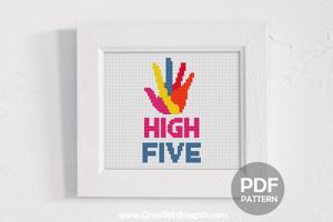 High Five Hand Cross Stitch Chart