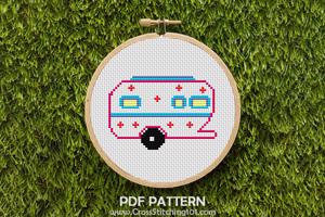 Camper Trailer Cross Stitch Design