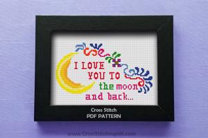 I Love you to the moon and back - Moon with Swirl Designs Cross Stitch Design