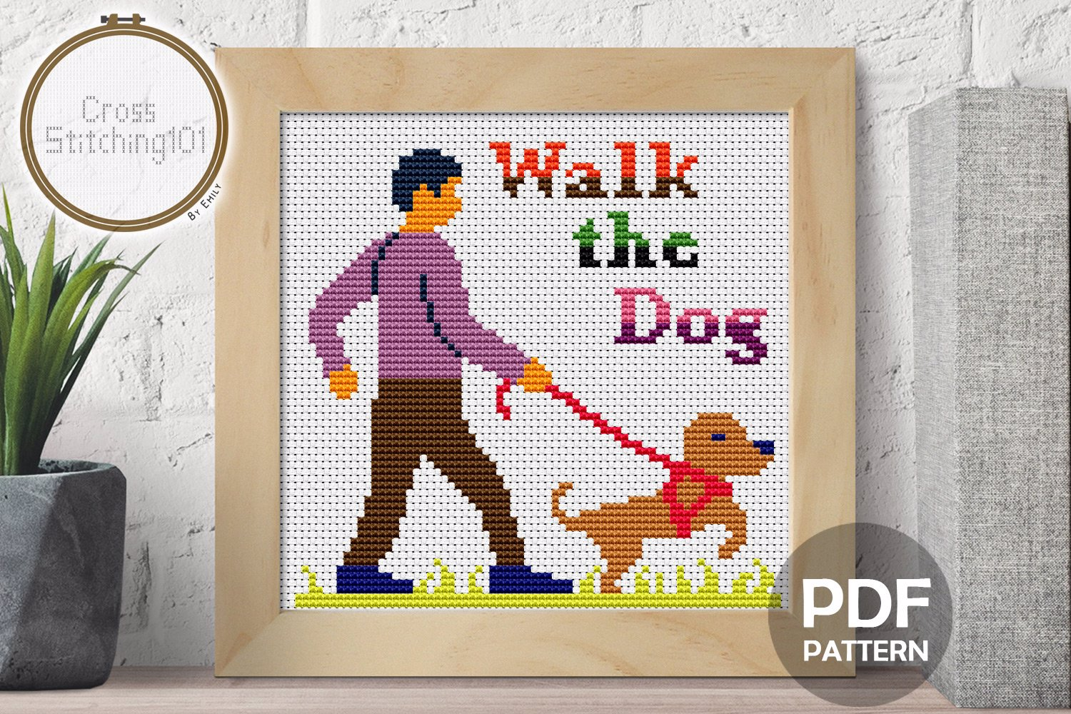 Walk The Dog Cross Stitch Design