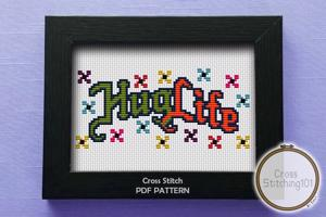 Hug Life Cross Stitch Design