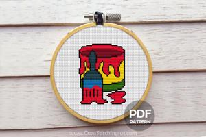 Brush n Bucket Cross Stitch Design