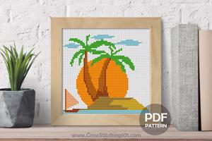 Sunset Beach Cross Stitch Design
