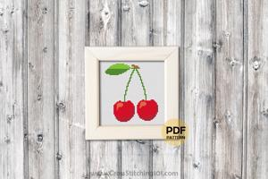 Red Cherry Cross Stitch Pattern