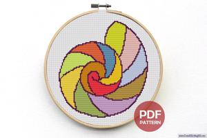 Round Shell Cross Stitch Pattern