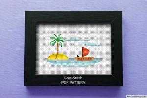 Beach Scene Cross Stitch Pattern
