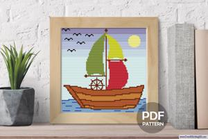 Ship Sailing in Sea Cross Stitch Pattern