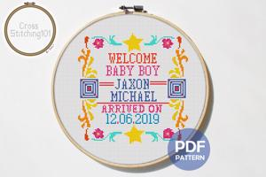 Birth Announcement Template-4 Cross Stitch PDF