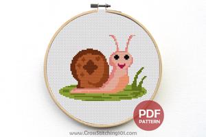 Funny Snail Cross Stitch Design
