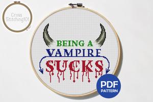 Being a Vampire Sucks Cross Stitch Design
