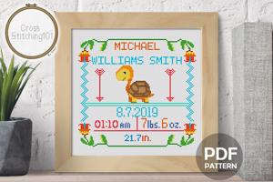 Birth Announcement Template-7 Cross Stitch Pattern