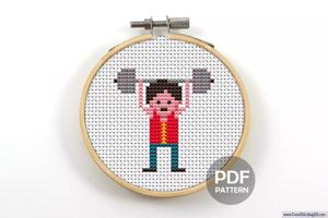 Boy Lifting Weights Cross Stitch PDF