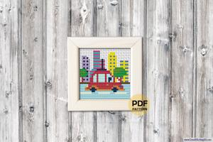 Driving Car City Scene Cross Stitch Pattern