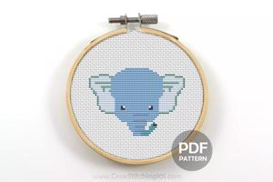 Cartoon Elephant Face Cross Stitch Design