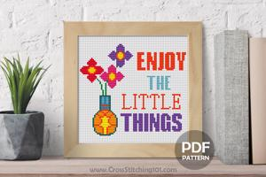 Enjoy The Little Things Pot Design CrossStitch Chart