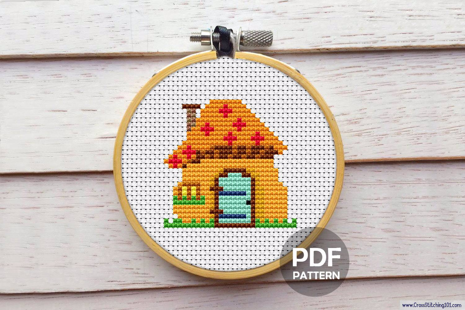 Mushroom Houses CrossStitch Pattern