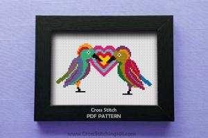 Two Sparrow Cross Stitch Design